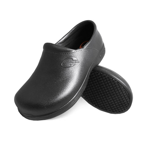 Genuine Grip 3800 Men's Injection Clogs, Slip Resistant Work Shoes, Black