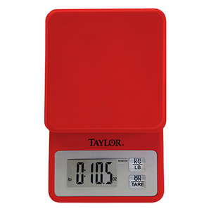 Taylor 3817R Red Portion Control Scale, compact digital kitchen, 11 lb x .1 oz., 5 kg x 1 g