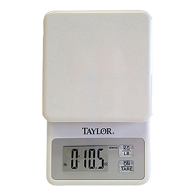 Taylor 3817 Portion Control Scale, compact digital kitchen, 11 lb x .1 oz., 5 kg x 1 g