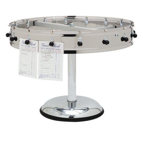 "Carlisle 3820MP Pedestal Order Wheel, portable, 23"" dia., 20 ball/spring clips, stainless steel"