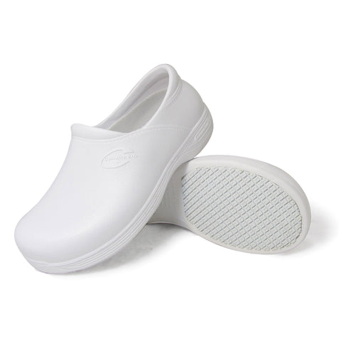 Genuine Grip 3805 Men's Injection Clogs, Slip Resistant Work Shoes, White
