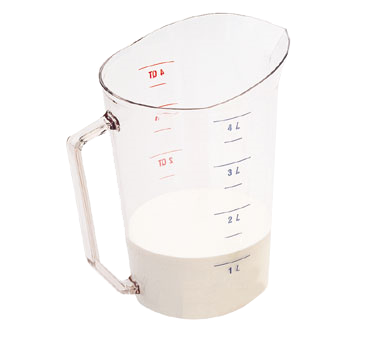 Cambro 400MCCW135 Camwear Measuring Cup, 4 qt., molded handle, dishwasher safe, polycarbonate, clear, NSF
