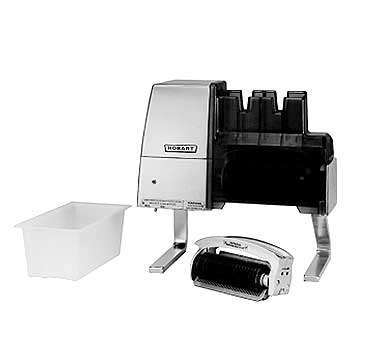Hobart 403+BUILDUP Meat Tenderizer, countertop model, 1/2 Hp motor, direct gear drive, burnished aluminum housing, stainless steel lift out knit knives & comb