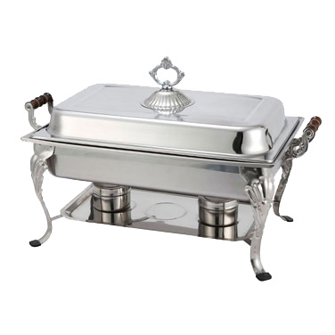 Winco 408-1 Crown Chafer, 8 quart, full size, rectangular, with dome cover, wooden handles, stainless steel, includes food pan, water pan, and fuel holders, mirror finish