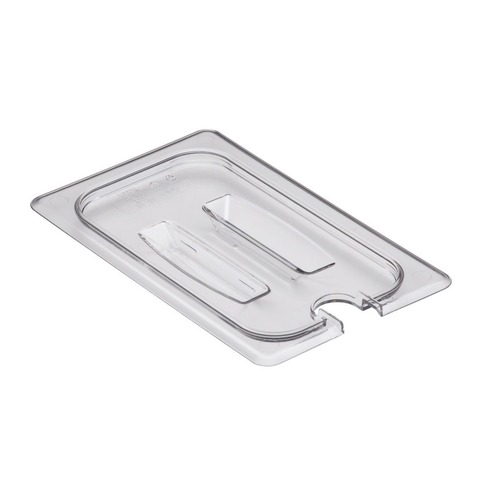 Cambro 40CWCHN135 Camwear Food Pan Cover, 1/4 size, notched, with handle, polycarbonate, clear, NSF