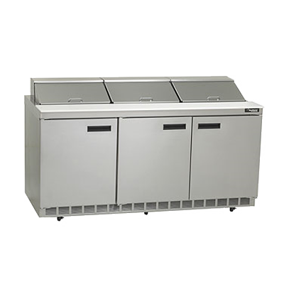 "Delfield 4472N-18 Sandwich/Salad Top Refrigerator, three-section, 72"" W, 1/2 hp, NSF"