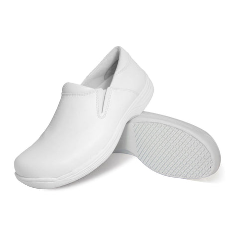 Genuine Grip 4705 Men's Slip-On, Slip Resistant Work Shoes, White