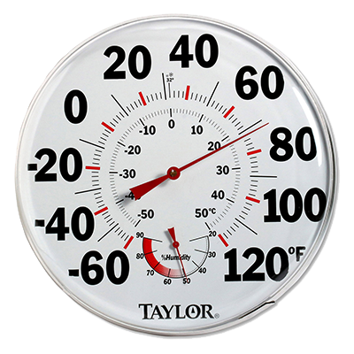"Taylor 497J Wall Thermometer (Humidity Guide) - 12"" Diameter  -60° to 120°F"