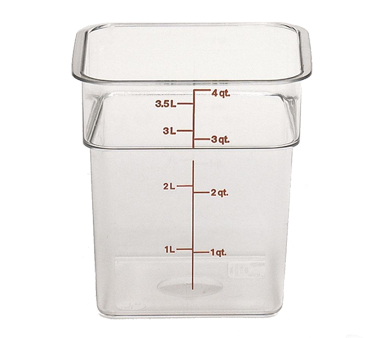Cambro 4SFSCW135 CamSquare Food Container, 4 qt., 7-1/4L x 7-1/4W x 7-3/8H, red graduation, polycarbonate, dishwasher safe, resists stains & odors, clear, NSF