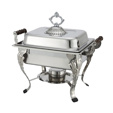 Winco 508 Half-Size Crown Chafer - 4 Qt., Stainless Steel