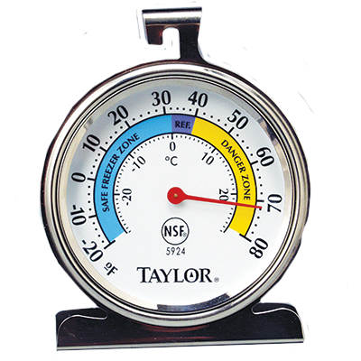 "Taylor 5924 Refrigerator/Freezer Thermometer, 3"" dial face, -20° to 80°F"