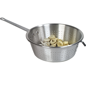 "Carlisle 60830 Spaghetti Strainer, 11-1/8"" dia. x 4"" depth, riveted plated steel handle, aluminum, silver"