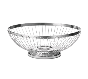 "TableCraft Products 6171 Cash & Carry Regent Basket, 7"" x 6"" x 2-3/4"", oval, hand wash only, 18/8 stainless steel"