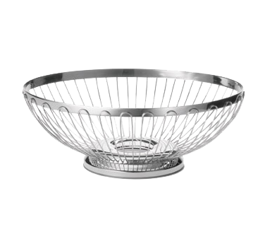 "TableCraft Products 6174 Regent Basket, 9-1/2"" x 7-1/4"" x 3-1/4"", oval, hand wash only, 18/8 stainless steel"