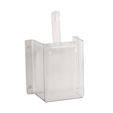 "Cal-Mil 624 Scoop Guard, 4 1/4"" W x 8"" D x 11 3/4"" H, includes 32 oz scoop, polycarbonate, wall mount"