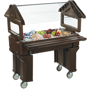 "Carlisle 660501 SixStar™ Portable Food Bar, 4 ft. unit, 45-1/4""L x 23-11/16""W x 51""H O.A., holds (3) full size food pans, polyethylene, brown, NSF"