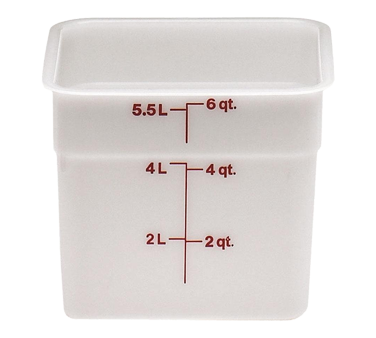 Cambro 6SFSP148 CamSquare Food Container, 6 Qt Plastic Natural White, NSF