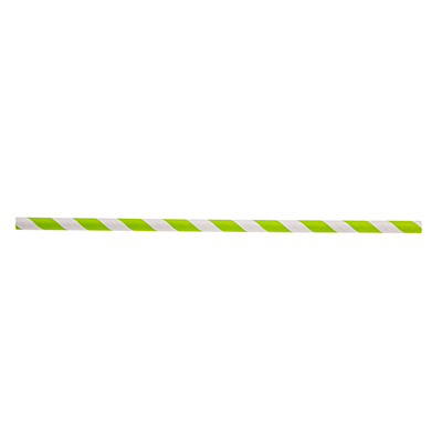 "TableCraft Products 700118 Straws, 10""L, 8mm thick, unwrapped, paper, green striped"