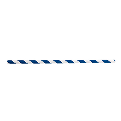 "TableCraft Products 700121 Straws, 7-3/4""L, 8mm thick, individually wrapped, paper, blue striped"