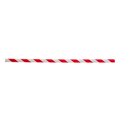 "TableCraft Products 700124 Straws, 7-3/4""L, 8mm Thick, Unwrapped, Paper, Red Striped"