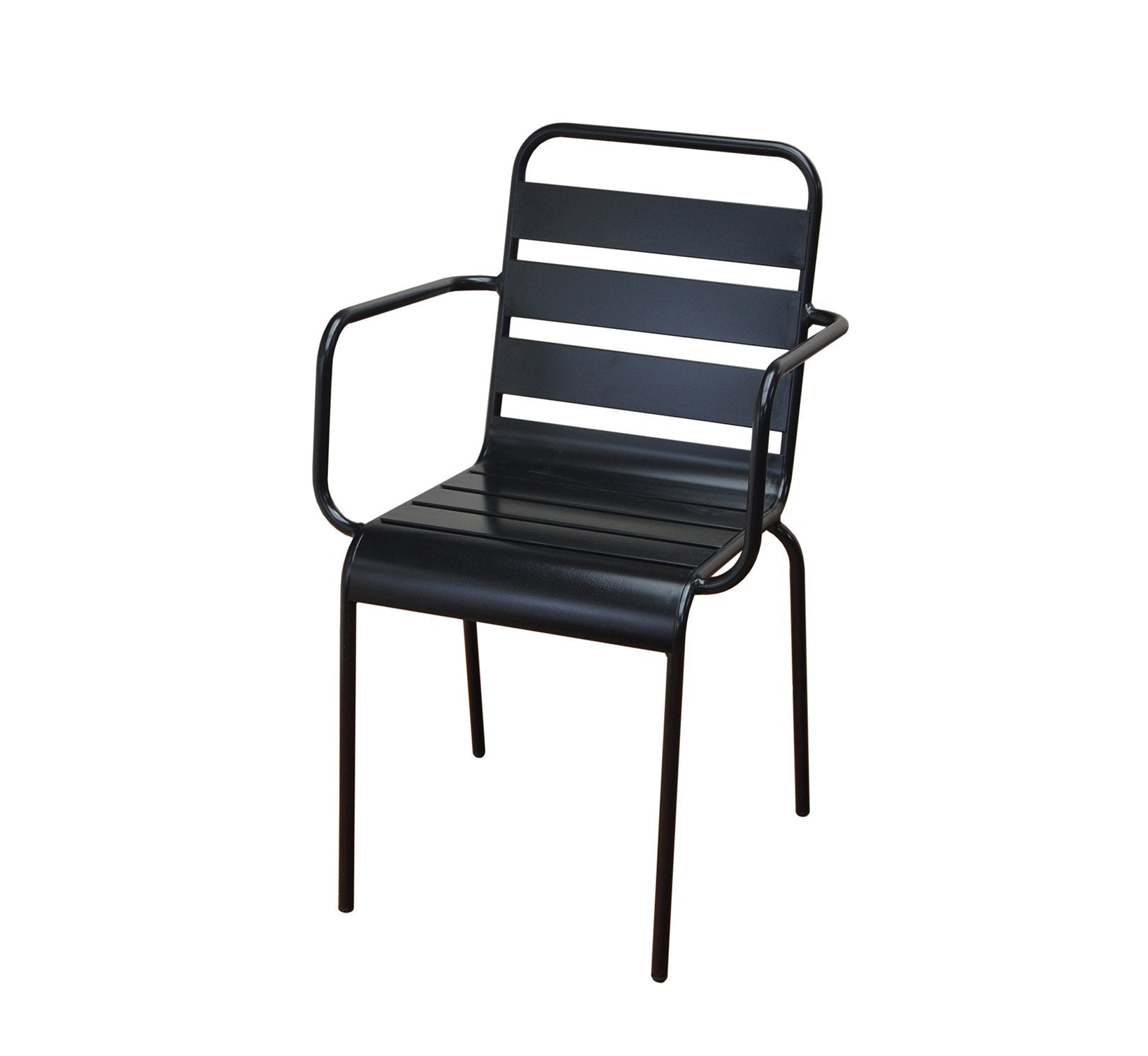 DHC 7013-BLK Black Aluminum Patio Chair Outdoor Black Finish Stack Chair