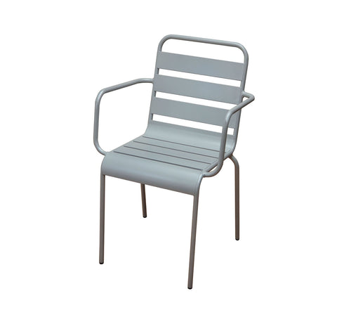 DHC 7013-SIL Silver Aluminum Patio Chair Outdoor Stacking Chair
