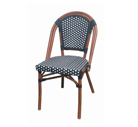 DHC 7056-BW  Aluminum Frame Patio Chair, Brown Frame Finish, Black & White Rattan