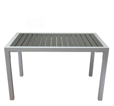 DHC 72S-3048 Square Aluminum Frame Patio Table with Black Polywood Slats, Silver Finish, Black Plastic Glides