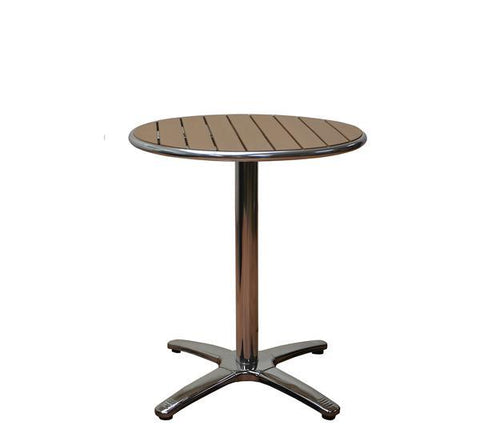 DHC 7330R-TEK Round Aluminum Frame Patio Table with Teak Polywood Slats, Silver Finish, Black Plastic Glides