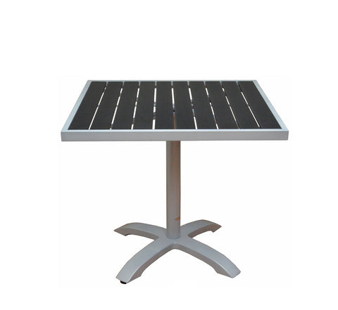 DHC 7330S-BLK Square Aluminum Frame Patio Table with Black Polywood Slats, Silver Finish, Black Plastic Glides