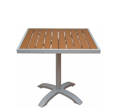 DHC 7330S-TEK Square Aluminum Frame Patio Table with Teak Polywood Slats , Silver Finish, Black Plastic Glides