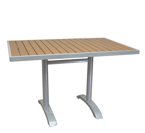 DHC 7348S-TEK Square Aluminum Frame Patio Table with Teak Polywood Slats, Silver Finish, Black Plastic Glides