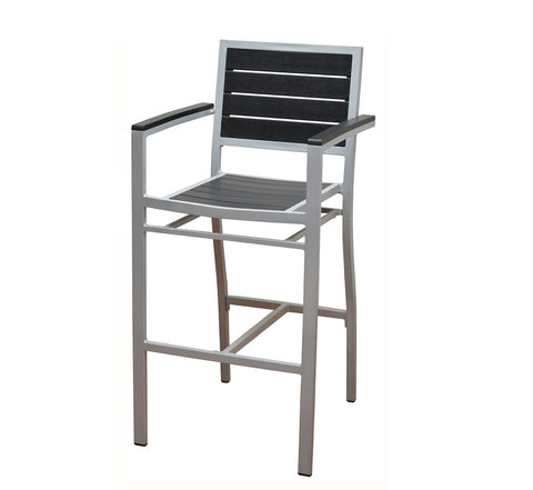 DHC 7351B-BLK Aluminum Patio Barstool with Black Polywood Slats, Silver Finish, Black Plastic Glides