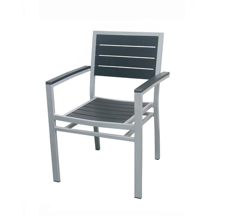 DHC 7351-BLK Aluminum Frame Patio Chair, Silver Finish, Black Polywood Slats