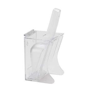 "Cal-Mil 789 Scoop Holder, 4 1/2"" W x 4"" D x 10"" H, 6 oz scoop, hinged lid, drip tray, freestanding, polycarbonate, clear, NSF"