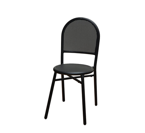 DHC 7911B-BLK Stamping Steel Mesh All Steel Patio Chair, Matte Black Finish