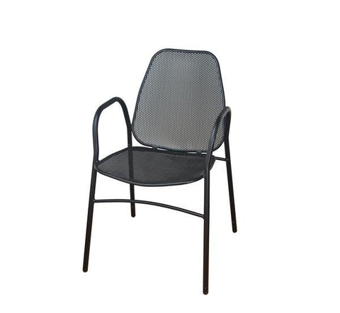 DHC 7915-BLK Stamping Steel Mesh All Steel Patio Chair, Matte Black Finish