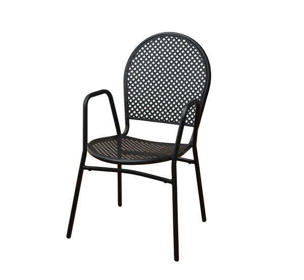 DHC 7928-BLK Stamping Steel Mesh All Steel Patio Chair, Matte Black Finish