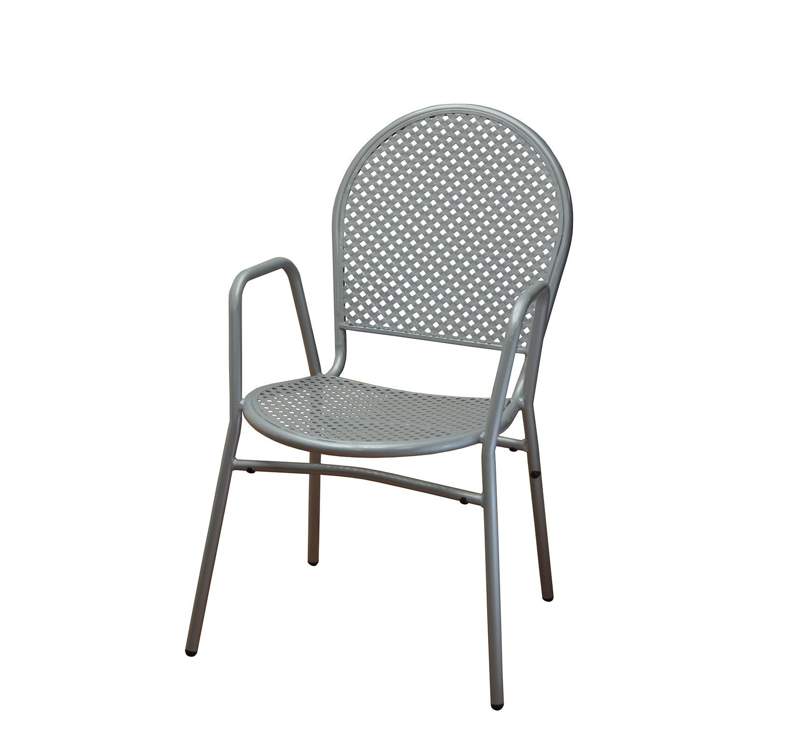 DHC 7928-SIL Stamping Steel Mesh All Steel Patio Chair, Silver Finish