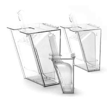 "Cal-Mil 793 Scoop Holder, 7 1/2"" W x 7"" D x 13"" H, 64 oz scoop, hinged lid, drip tray, wall mount, polycarbonate, clear, NSF"