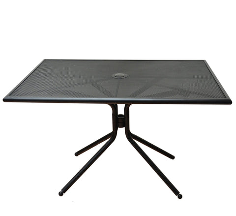 DHC 79TS3048-BLK Square All Steel Patio Table with Steel Mesh , Matte Black Finish