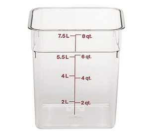 Cambro 8SFSCW135 CamSquare Food Container, 8 qt., 8-3/8L x 8-3/8W x 9-1/8H, red graduation, polycarbonate, dishwasher safe, resists stains & odors, clear, NSF
