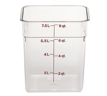 Cambro 8SFSCW135 CamSquare Food Container 8 Qt. 8 x 9 Plastic Clear, NSF