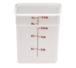 Cambro 8SFSP148 CamSquare Food Container, 8 qt., 8-3/8L x 8-3/8W x 9-1/8H, red graduation, polyethylene, dishwasher safe, resists stains & odors, natural white, NSF