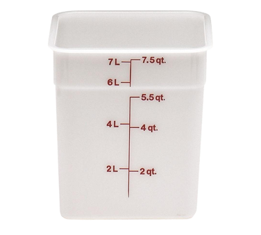 Cambro 8SFSP148 CamSquare Food Container 8 Qt 8 x 9 Plastic, Natural White, NSF