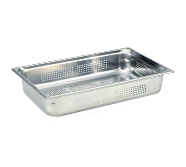 "Vollrath 90043 Super Pan 3® 1/1 GN Food Pan, perforated, 4"" deep, 22 gauge, 300 series stainless steel, (EN 631-1) standard, NSF, Made in USA"
