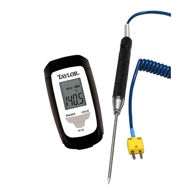 "Taylor 9821-PBN Thermocouple Thermometer, with 1.5mm step down 3.9"" K-type probe"