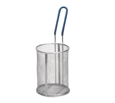 "TableCraft Products 985 Pasta Basket, 5-1/4"" dia. x 7""H, round, 18/8 stainless steel, blue cool-to-touch PVC handle"