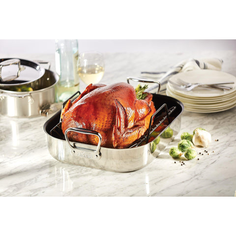 All-Clad, E751S264, Gourmet Accessories, Large Stainless Steel Nonstick Roaster with Rack