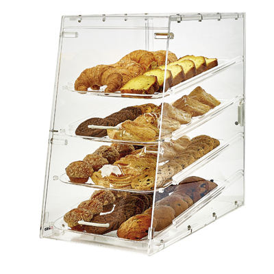 Winco ADC-4 Countertop 4-Tier Display Case, Acrylic Clear